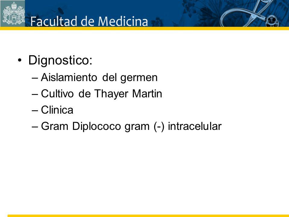 Facultad de Medicina Carrera 7 No. 40-62 Hospital Universitario San Ignacio Bogotá COLOMBIA Dignostico: –Aislamiento del germen –Cultivo de Thayer Mar