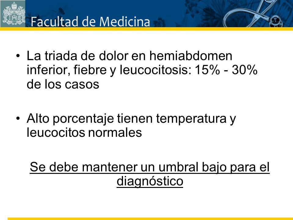 Facultad de Medicina Carrera 7 No. 40-62 Hospital Universitario San Ignacio Bogotá COLOMBIA La triada de dolor en hemiabdomen inferior, fiebre y leuco
