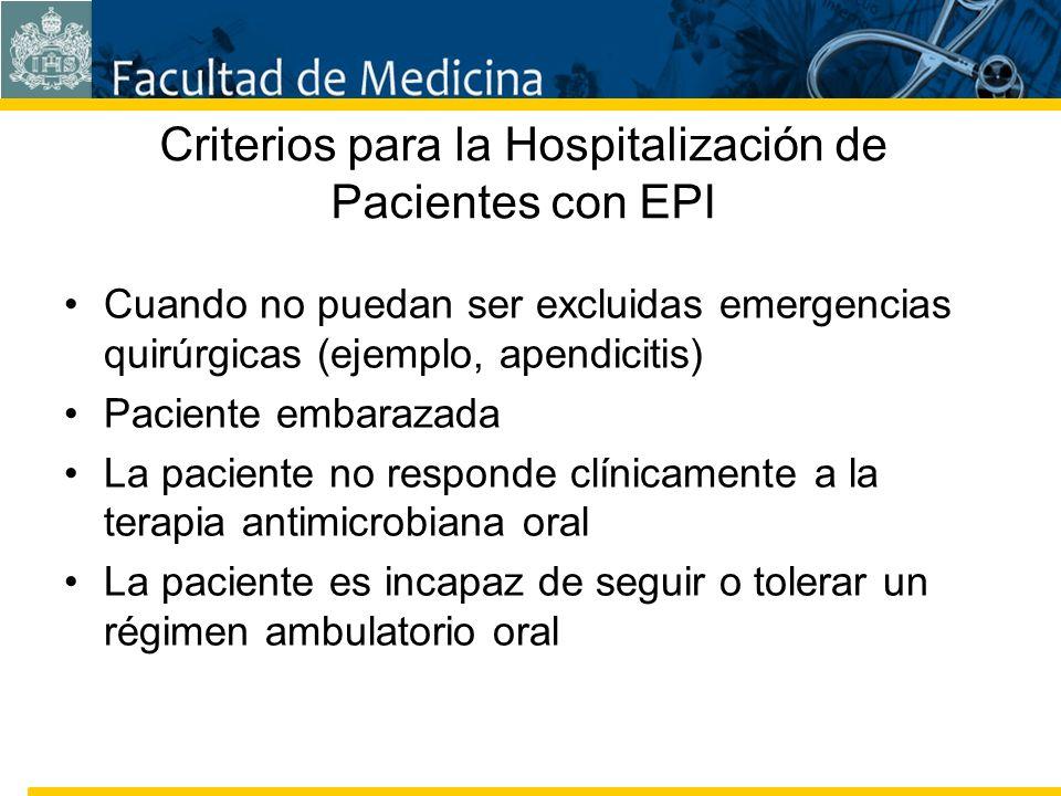 Facultad de Medicina Carrera 7 No. 40-62 Hospital Universitario San Ignacio Bogotá COLOMBIA Criterios para la Hospitalización de Pacientes con EPI Cua