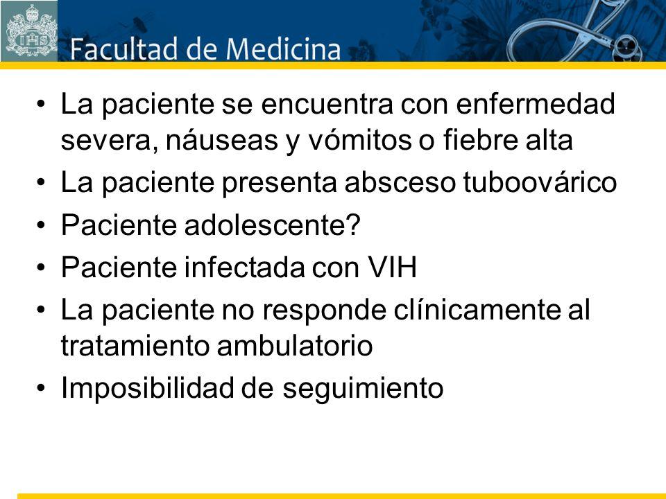 Facultad de Medicina Carrera 7 No. 40-62 Hospital Universitario San Ignacio Bogotá COLOMBIA La paciente se encuentra con enfermedad severa, náuseas y