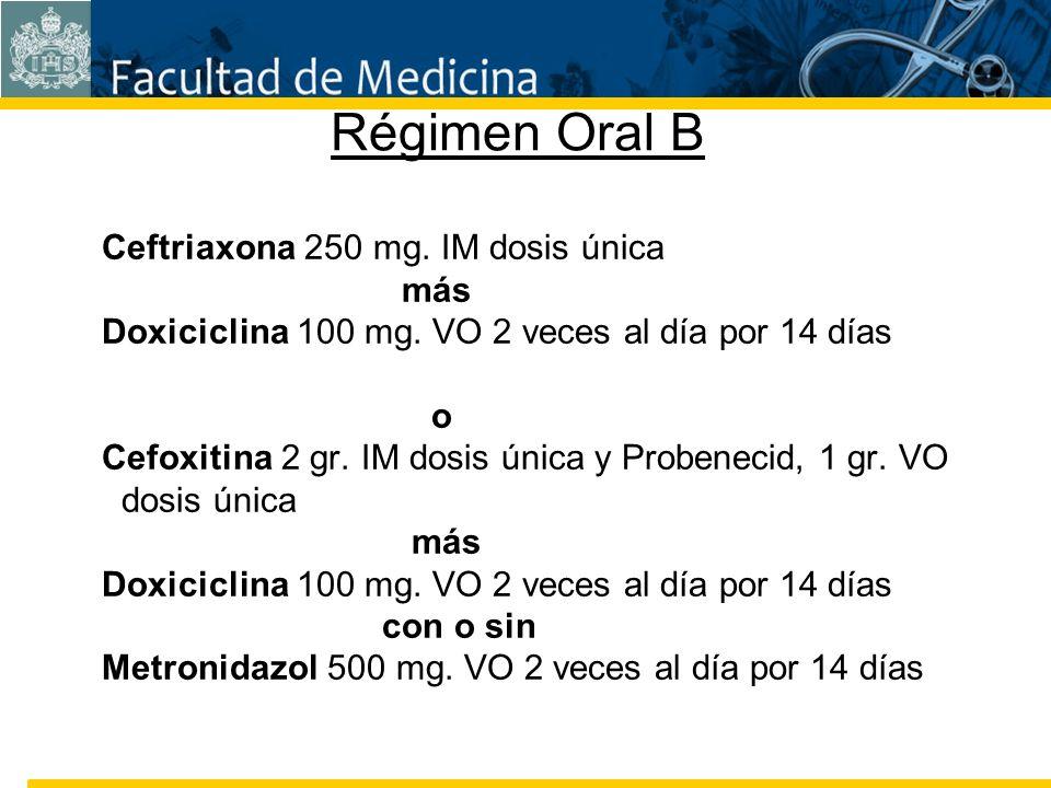 Facultad de Medicina Carrera 7 No. 40-62 Hospital Universitario San Ignacio Bogotá COLOMBIA Régimen Oral B Ceftriaxona 250 mg. IM dosis única más Doxi