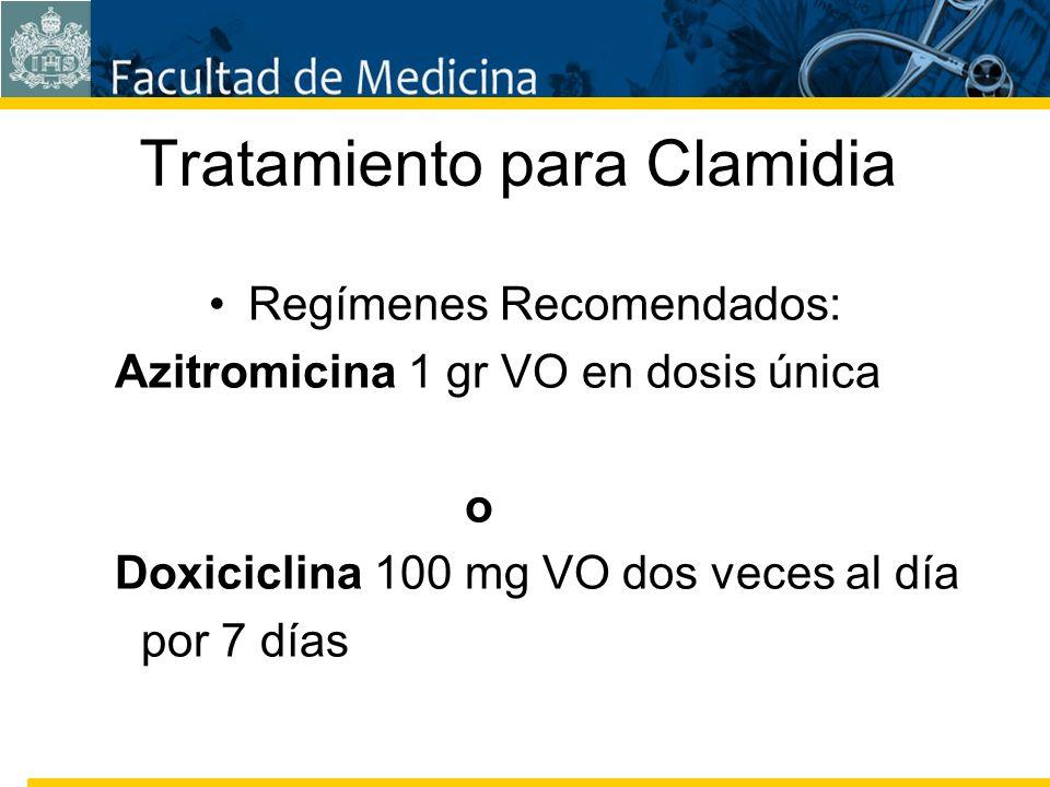 Facultad de Medicina Carrera 7 No. 40-62 Hospital Universitario San Ignacio Bogotá COLOMBIA Tratamiento para Clamidia Regímenes Recomendados: Azitromi