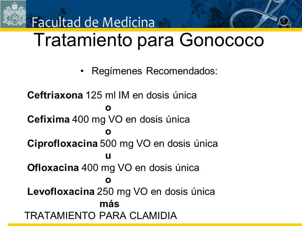 Facultad de Medicina Carrera 7 No. 40-62 Hospital Universitario San Ignacio Bogotá COLOMBIA Tratamiento para Gonococo Regímenes Recomendados: Ceftriax