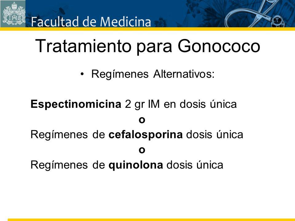 Facultad de Medicina Carrera 7 No. 40-62 Hospital Universitario San Ignacio Bogotá COLOMBIA Tratamiento para Gonococo Regímenes Alternativos: Espectin