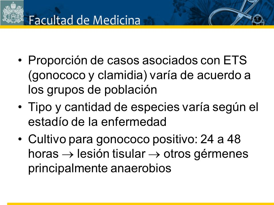 Facultad de Medicina Carrera 7 No. 40-62 Hospital Universitario San Ignacio Bogotá COLOMBIA Proporción de casos asociados con ETS (gonococo y clamidia