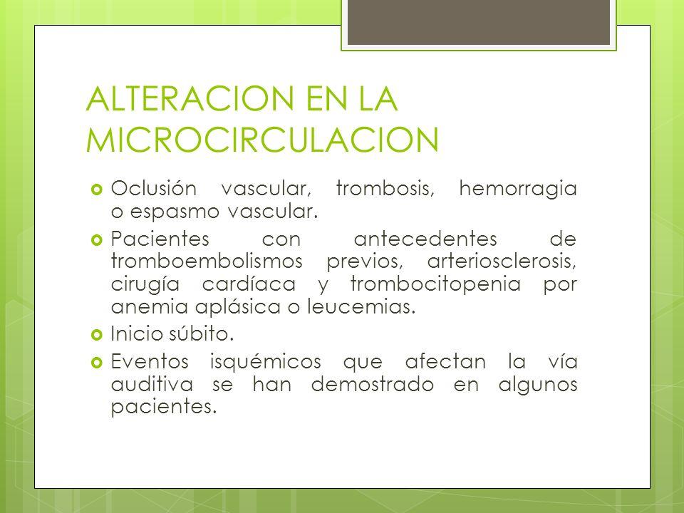ALTERACION EN LA MICROCIRCULACION Oclusión vascular, trombosis, hemorragia o espasmo vascular. Pacientes con antecedentes de tromboembolismos previos,