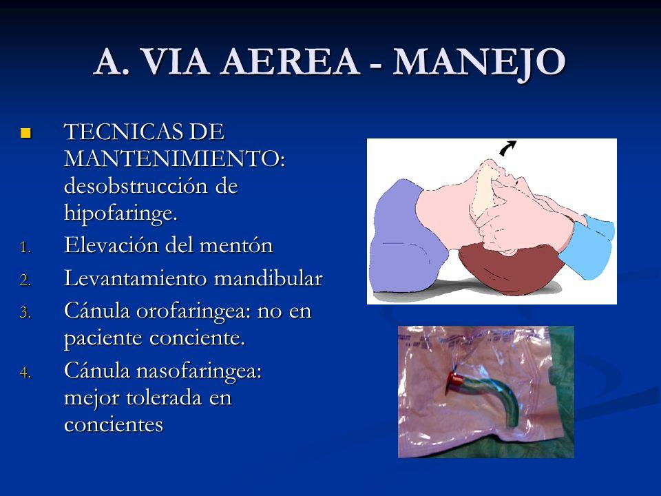 A. VIA AEREA - MANEJO TECNICAS DE MANTENIMIENTO: desobstrucción de hipofaringe. TECNICAS DE MANTENIMIENTO: desobstrucción de hipofaringe. 1. Elevación