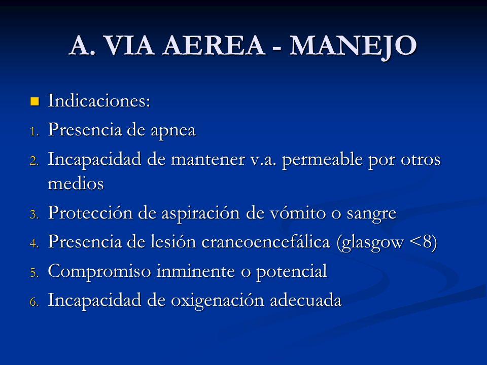 A. VIA AEREA - MANEJO Indicaciones: Indicaciones: 1. Presencia de apnea 2. Incapacidad de mantener v.a. permeable por otros medios 3. Protección de as