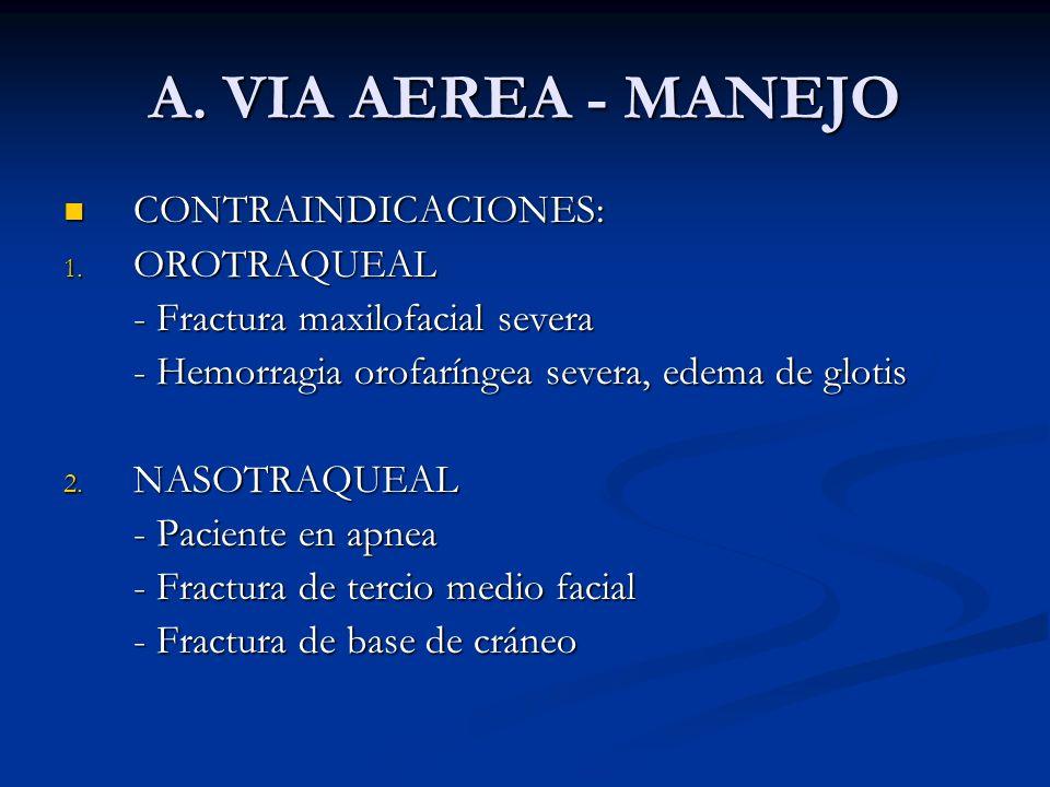 A. VIA AEREA - MANEJO CONTRAINDICACIONES: CONTRAINDICACIONES: 1. OROTRAQUEAL - Fractura maxilofacial severa - Hemorragia orofaríngea severa, edema de