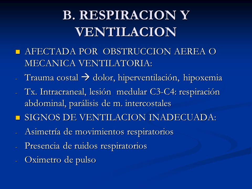 B. RESPIRACION Y VENTILACION AFECTADA POR OBSTRUCCION AEREA O MECANICA VENTILATORIA: AFECTADA POR OBSTRUCCION AEREA O MECANICA VENTILATORIA: - Trauma