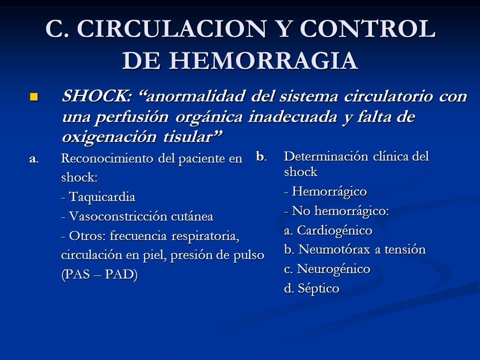 C. CIRCULACION Y CONTROL DE HEMORRAGIA SHOCK: anormalidad del sistema circulatorio con una perfusión orgánica inadecuada y falta de oxigenación tisula