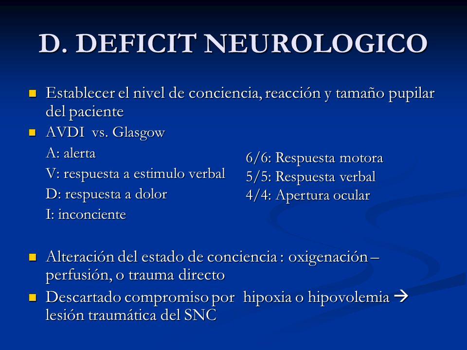 D. DEFICIT NEUROLOGICO Establecer el nivel de conciencia, reacción y tamaño pupilar del paciente Establecer el nivel de conciencia, reacción y tamaño