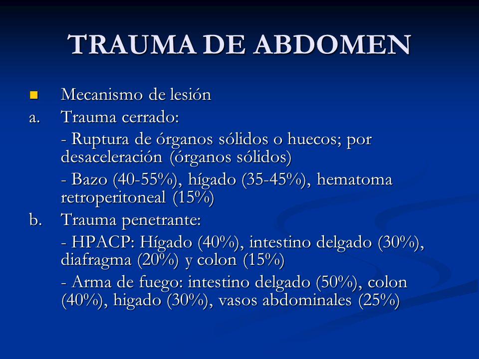 TRAUMA DE ABDOMEN Mecanismo de lesión Mecanismo de lesión a. Trauma cerrado: - Ruptura de órganos sólidos o huecos; por desaceleración (órganos sólido