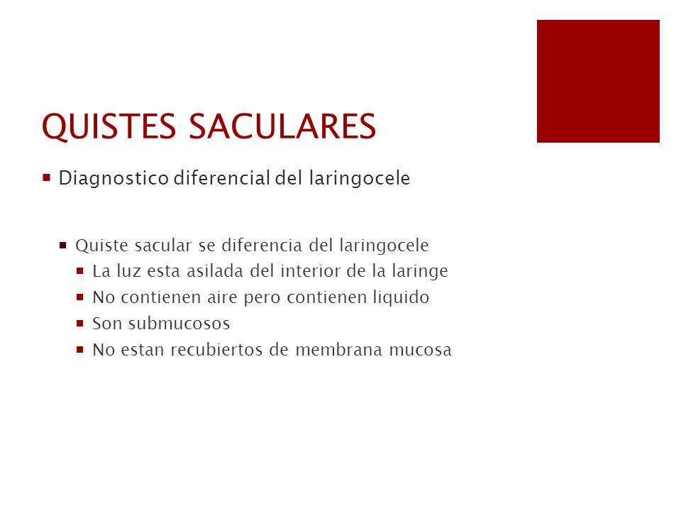 QUISTES SACULARES Diagnostico diferencial del laringocele Quiste sacular se diferencia del laringocele La luz esta asilada del interior de la laringe