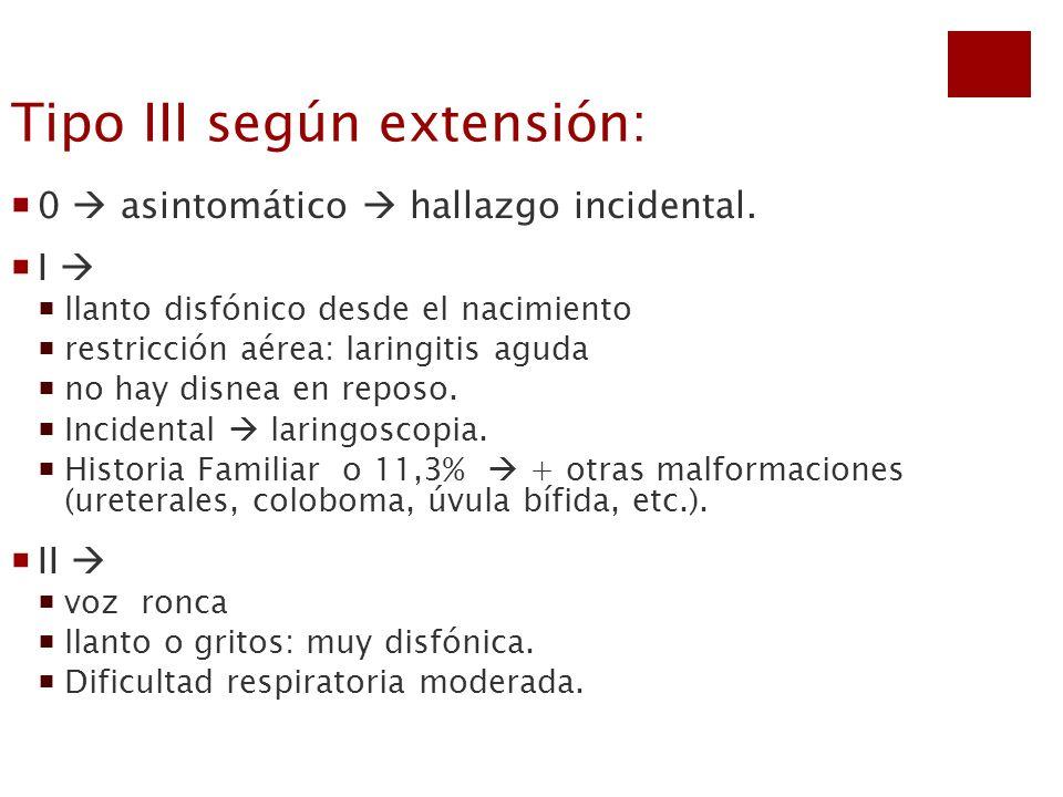 Tipo III según extensión: 0 asintomático hallazgo incidental. I llanto disfónico desde el nacimiento restricción aérea: laringitis aguda no hay disnea