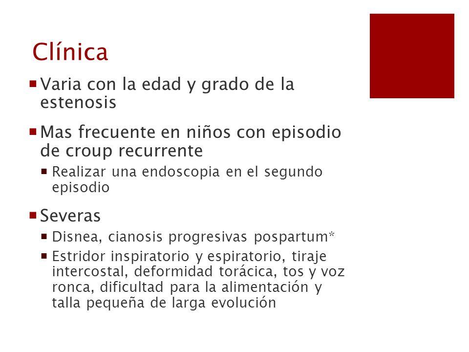Clínica Varia con la edad y grado de la estenosis Mas frecuente en niños con episodio de croup recurrente Realizar una endoscopia en el segundo episod