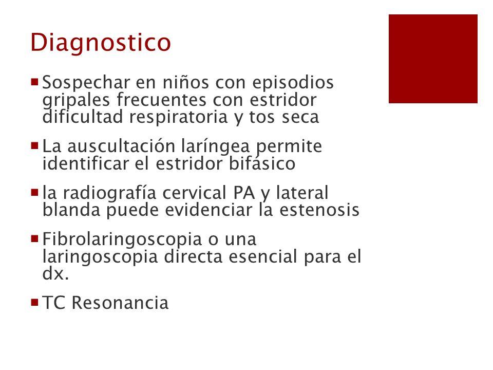 Diagnostico Sospechar en niños con episodios gripales frecuentes con estridor dificultad respiratoria y tos seca La auscultación laríngea permite iden