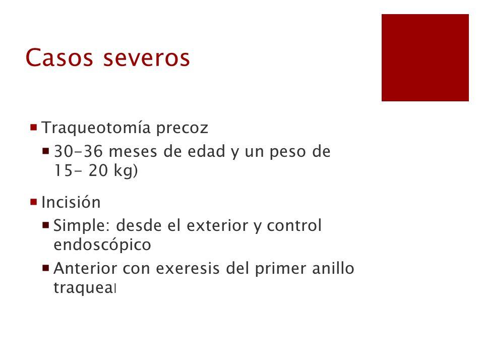 Casos severos Traqueotomía precoz 30-36 meses de edad y un peso de 15- 20 kg) Incisión Simple: desde el exterior y control endoscópico Anterior con ex
