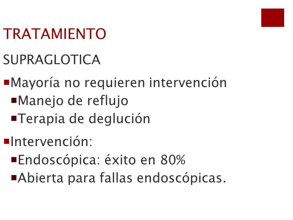 TRATAMIENTO SUPRAGLOTICA Mayoría no requieren intervención Manejo de reflujo Terapia de deglución Intervención: Endoscópica: éxito en 80% Abierta para