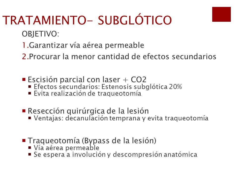 TRATAMIENTO- SUBGLÓTICO OBJETIVO: 1.Garantizar vía aérea permeable 2.Procurar la menor cantidad de efectos secundarios Escisión parcial con laser + CO