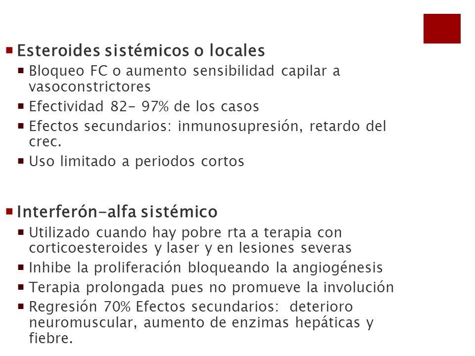 Esteroides sistémicos o locales Bloqueo FC o aumento sensibilidad capilar a vasoconstrictores Efectividad 82- 97% de los casos Efectos secundarios: in