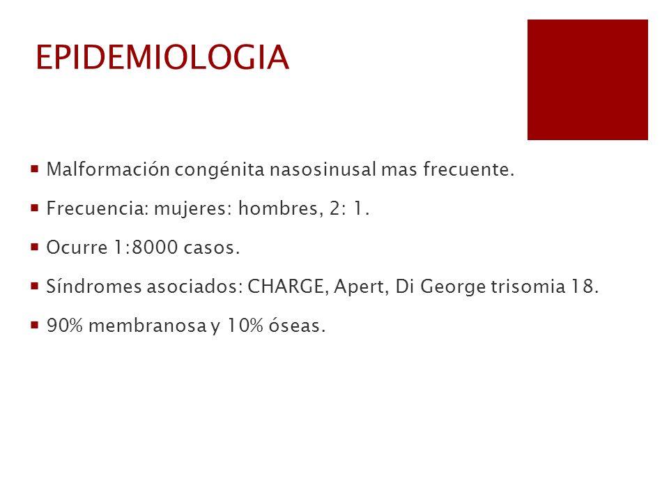 EPIDEMIOLOGIA Malformación congénita nasosinusal mas frecuente. Frecuencia: mujeres: hombres, 2: 1. Ocurre 1:8000 casos. Síndromes asociados: CHARGE,