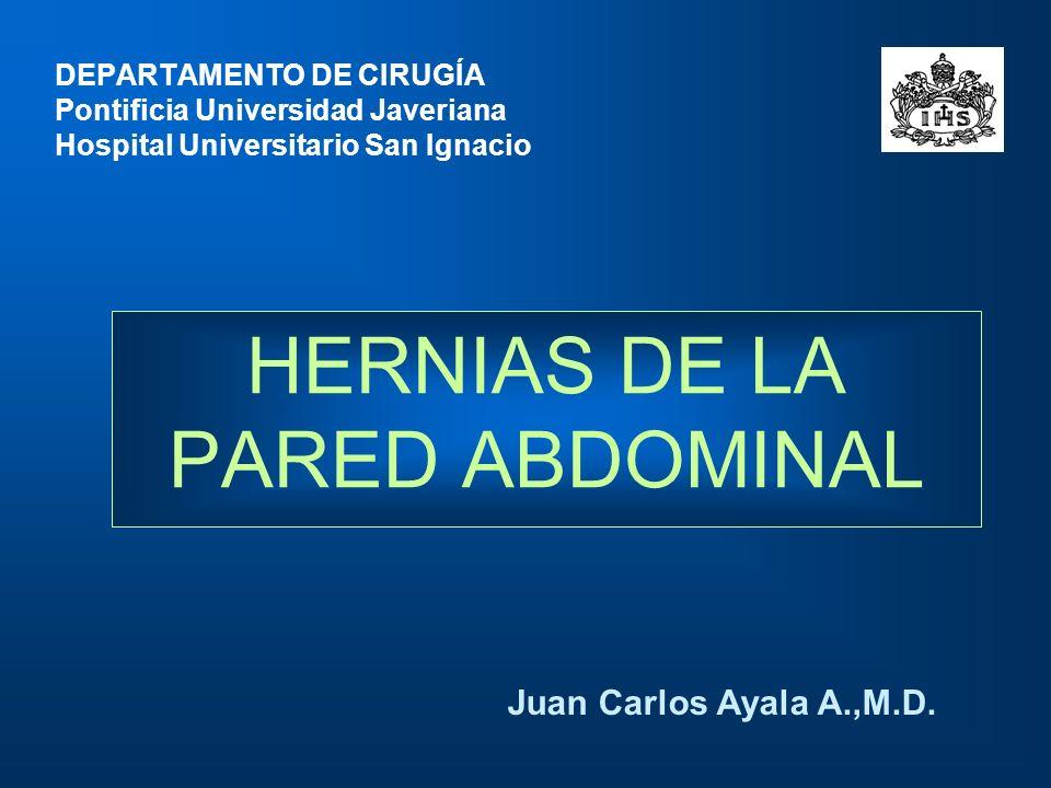 HERNIAS DE LA PARED ABDOMINAL Juan Carlos Ayala A.,M.D. DEPARTAMENTO DE CIRUGÍA Pontificia Universidad Javeriana Hospital Universitario San Ignacio