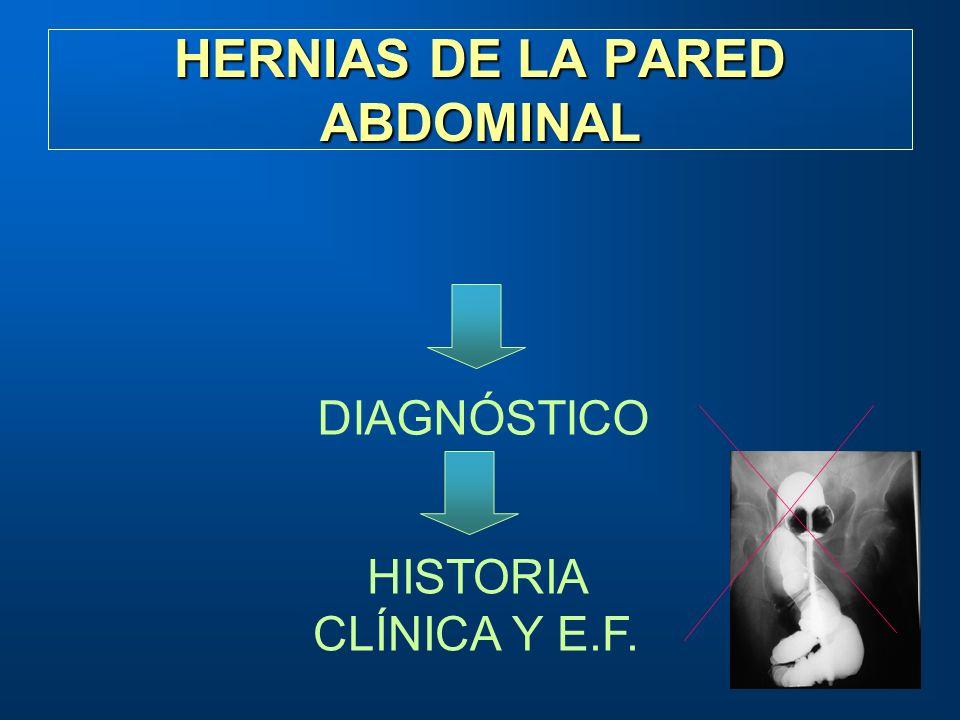 HERNIAS DE LA PARED ABDOMINAL DIAGNÓSTICO HISTORIA CLÍNICA Y E.F.
