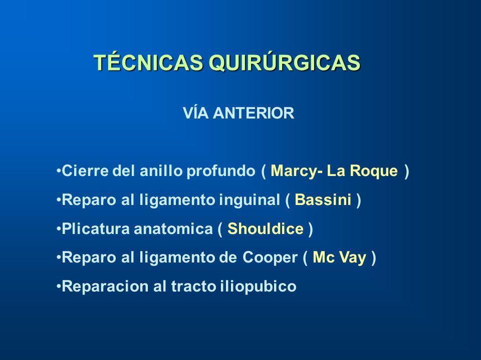 TÉCNICAS QUIRÚRGICAS VÍA ANTERIOR Cierre del anillo profundo ( Marcy- La Roque ) Reparo al ligamento inguinal ( Bassini ) Plicatura anatomica ( Should