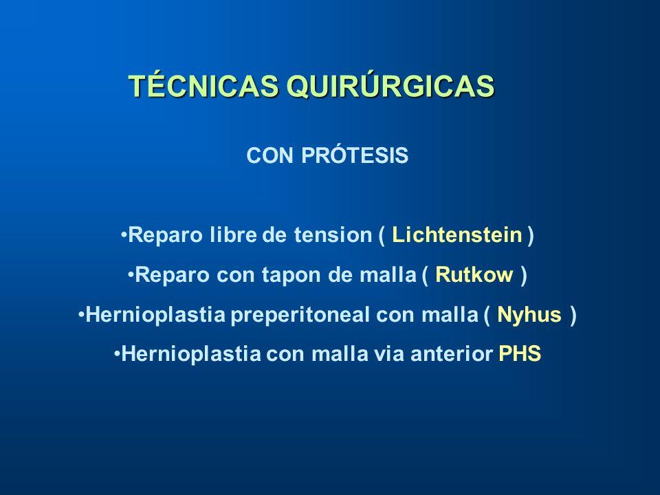 TÉCNICAS QUIRÚRGICAS CON PRÓTESIS Reparo libre de tension ( Lichtenstein ) Reparo con tapon de malla ( Rutkow ) Hernioplastia preperitoneal con malla