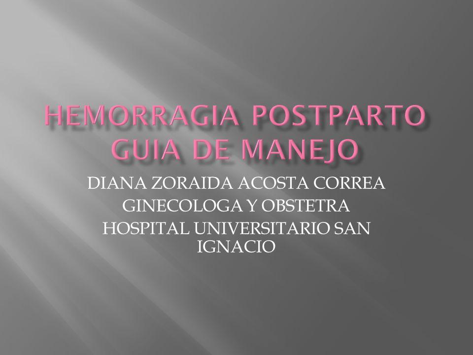 ESTABLECER PARAMETRO BASICOS PARA IDENTIFICAR FACTORES DE RIESGO, PREVENIR Y TRATAR DE MANERA EFICIENTE LA HEMORRAGIA POSTPARTO.