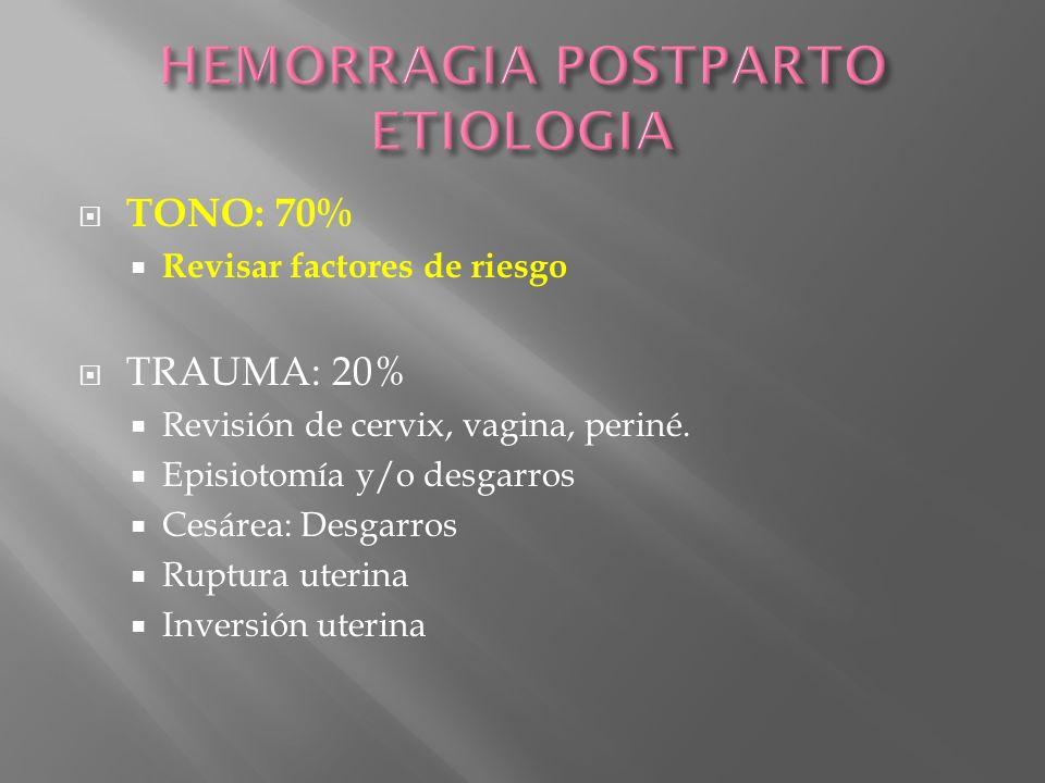TONO: 70% Revisar factores de riesgo TRAUMA: 20% Revisión de cervix, vagina, periné. Episiotomía y/o desgarros Cesárea: Desgarros Ruptura uterina Inve