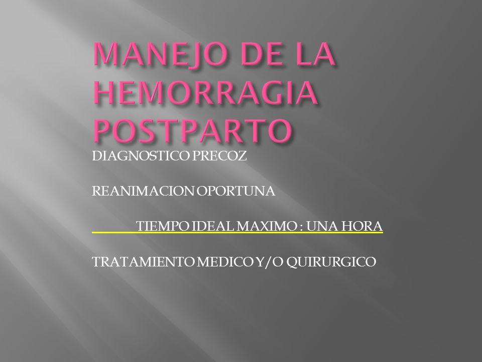 DIAGNOSTICO PRECOZ REANIMACION OPORTUNA TIEMPO IDEAL MAXIMO : UNA HORA TRATAMIENTO MEDICO Y/O QUIRURGICO