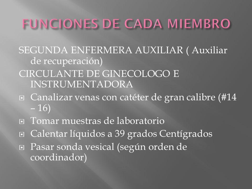 SEGUNDA ENFERMERA AUXILIAR ( Auxiliar de recuperación) CIRCULANTE DE GINECOLOGO E INSTRUMENTADORA Canalizar venas con catéter de gran calibre (#14 – 1