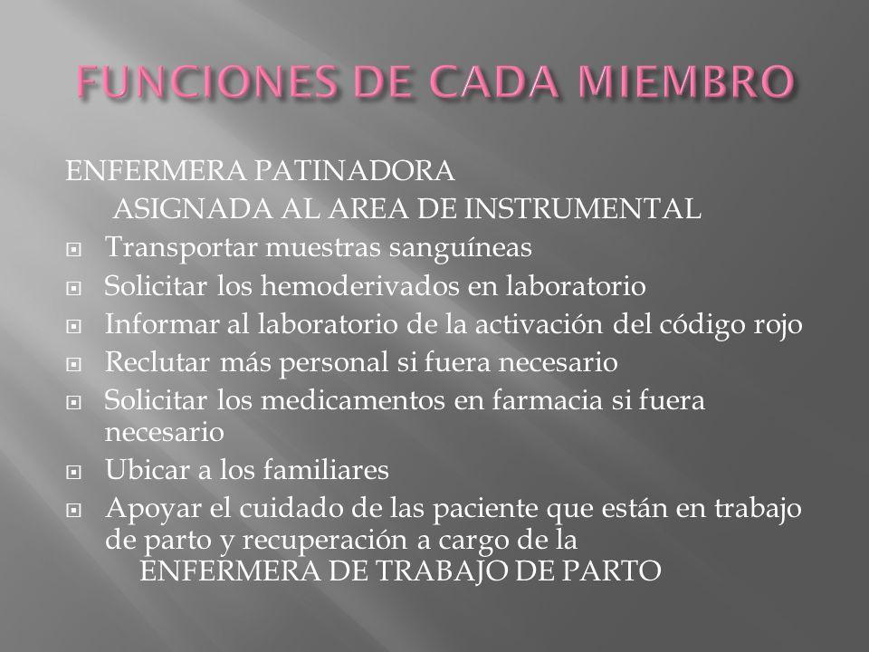 ENFERMERA PATINADORA ASIGNADA AL AREA DE INSTRUMENTAL Transportar muestras sanguíneas Solicitar los hemoderivados en laboratorio Informar al laborator