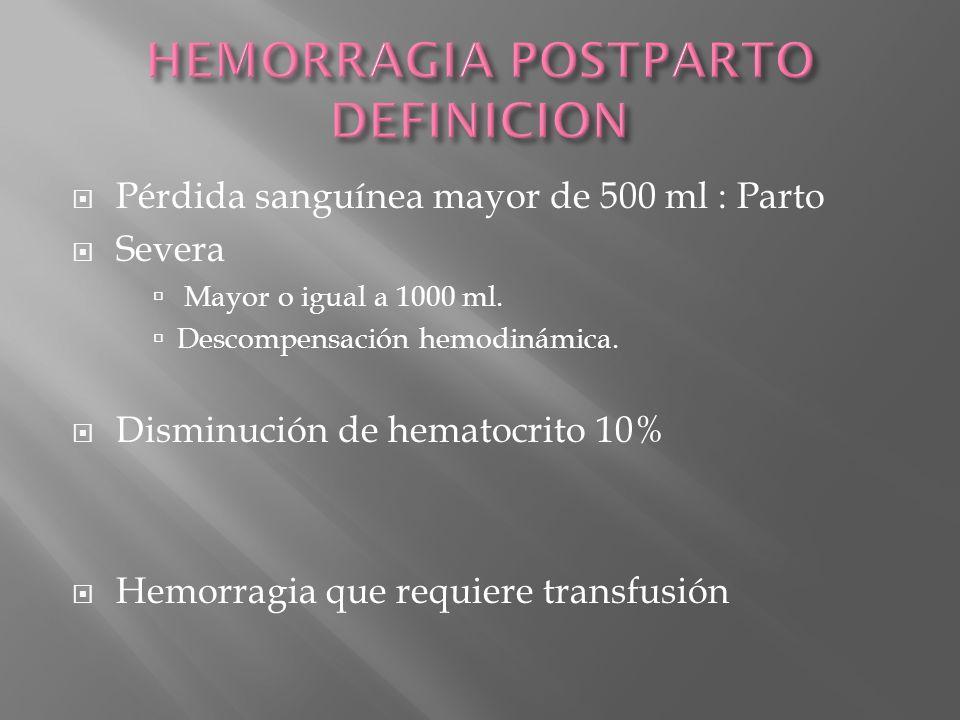 Pérdida sanguínea mayor de 500 ml : Parto Severa Mayor o igual a 1000 ml. Descompensación hemodinámica. Disminución de hematocrito 10% Hemorragia que