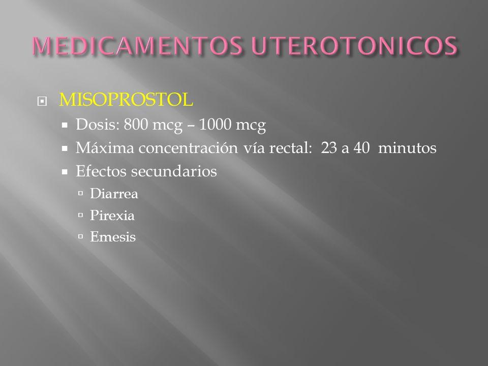 MISOPROSTOL Dosis: 800 mcg – 1000 mcg Máxima concentración vía rectal: 23 a 40 minutos Efectos secundarios Diarrea Pirexia Emesis