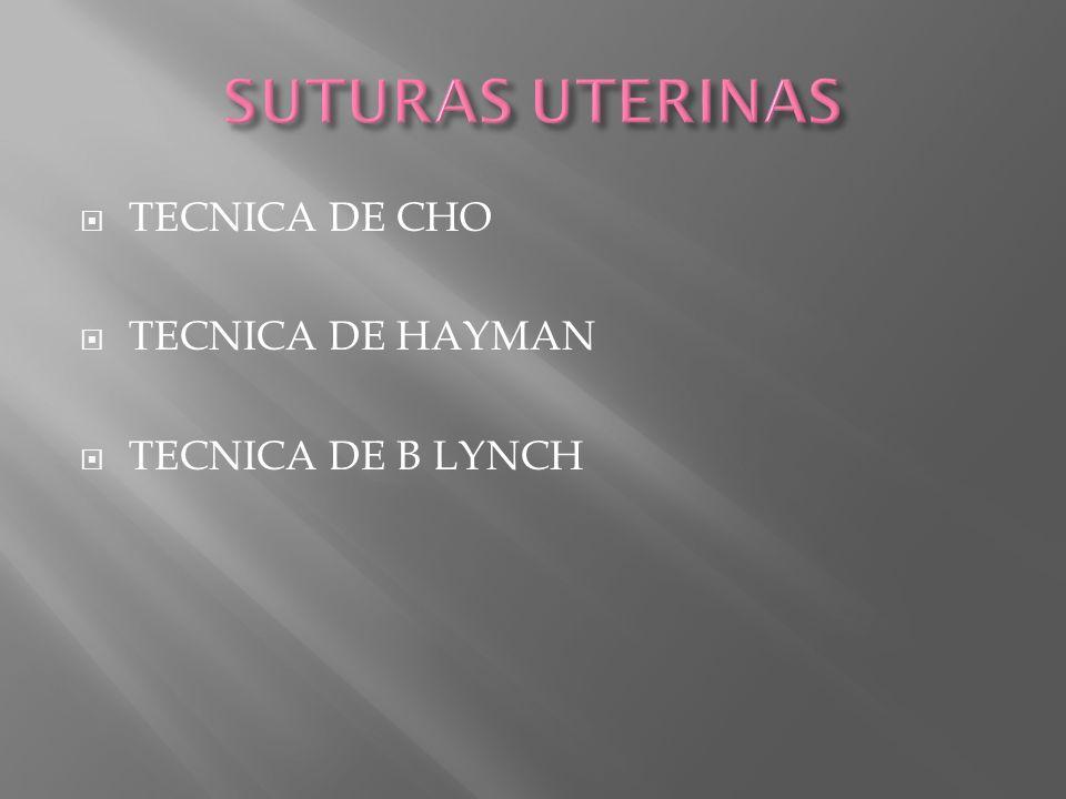 TECNICA DE CHO TECNICA DE HAYMAN TECNICA DE B LYNCH