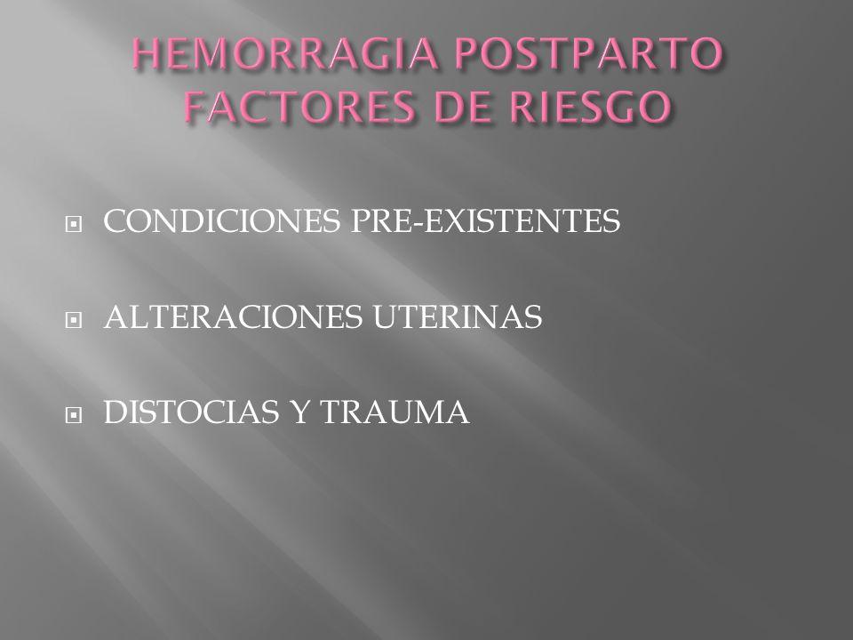 CONDICIONES PRE-EXISTENTES ALTERACIONES UTERINAS DISTOCIAS Y TRAUMA