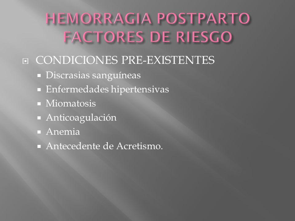 CONDICIONES PRE-EXISTENTES Discrasias sanguíneas Enfermedades hipertensivas Miomatosis Anticoagulación Anemia Antecedente de Acretismo.