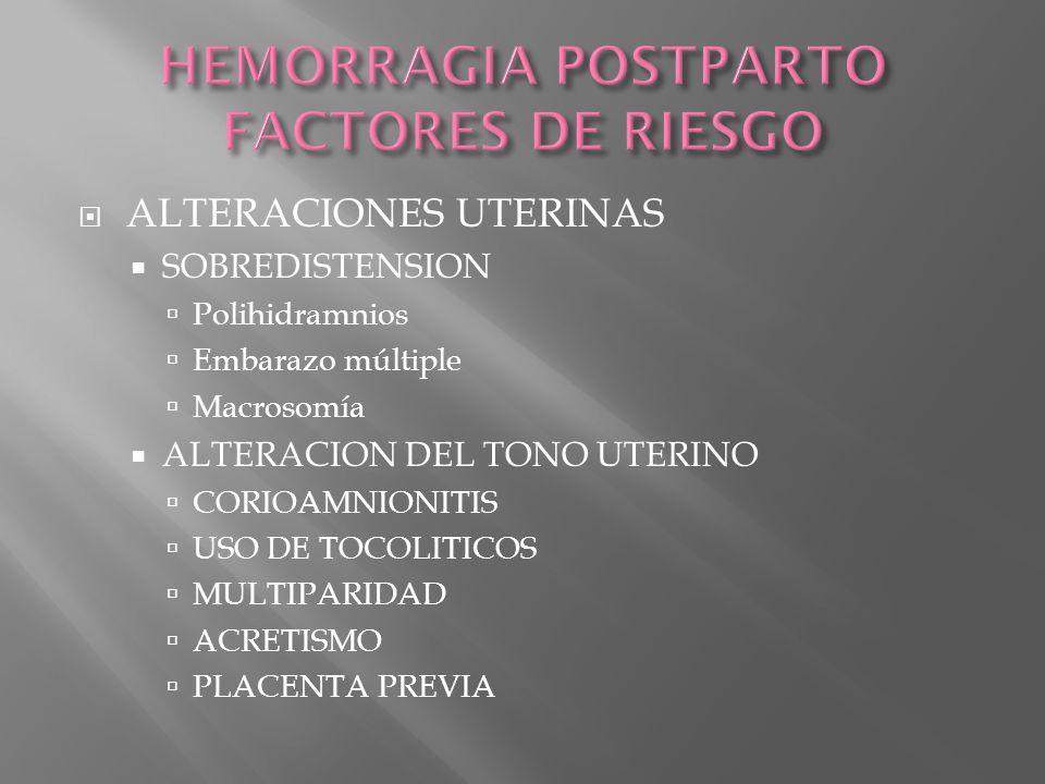 ALTERACIONES UTERINAS SOBREDISTENSION Polihidramnios Embarazo múltiple Macrosomía ALTERACION DEL TONO UTERINO CORIOAMNIONITIS USO DE TOCOLITICOS MULTI