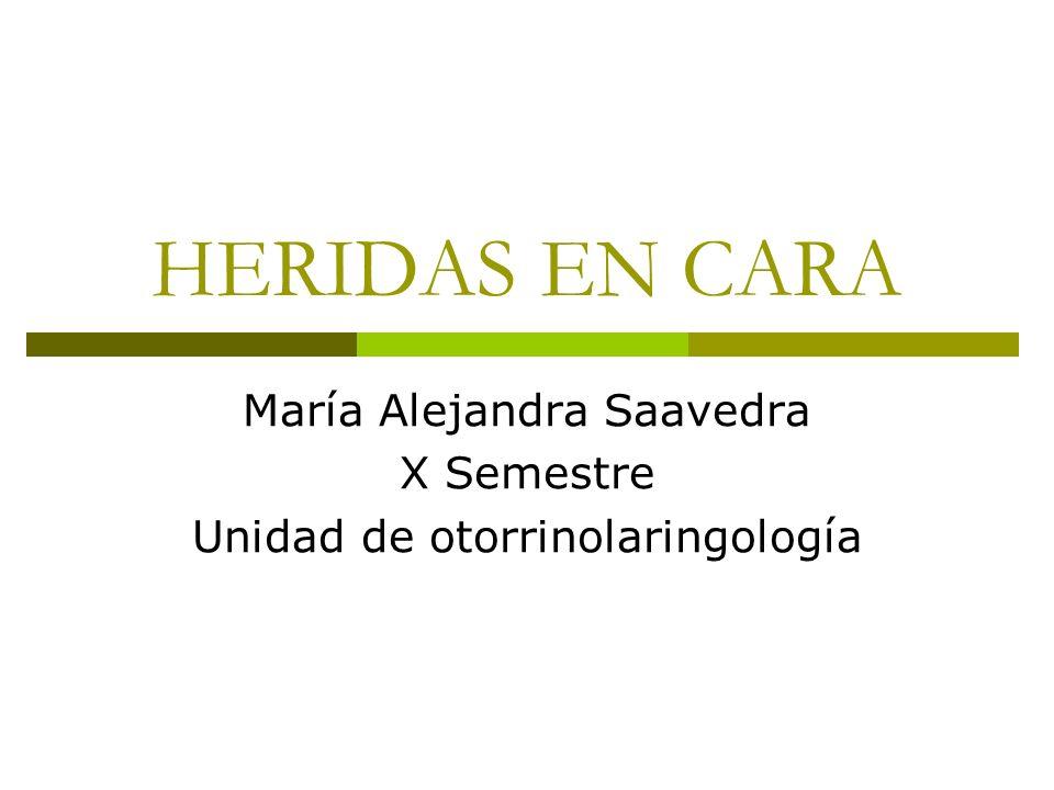 HERIDAS EN CARA María Alejandra Saavedra X Semestre Unidad de otorrinolaringología