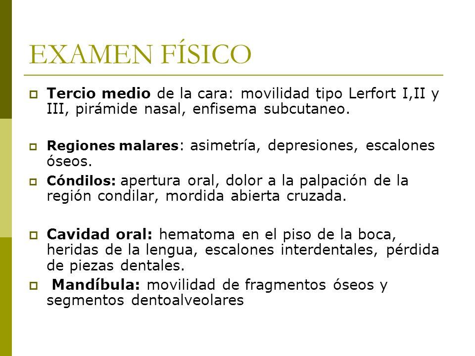 EXAMEN FÍSICO Tercio medio de la cara: movilidad tipo Lerfort I,II y III, pirámide nasal, enfisema subcutaneo. Regiones malares : asimetría, depresion