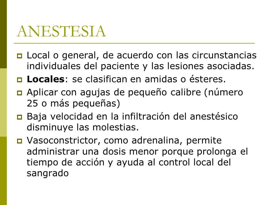 ANESTESIA Local o general, de acuerdo con las circunstancias individuales del paciente y las lesiones asociadas. Locales: se clasifican en amidas o és