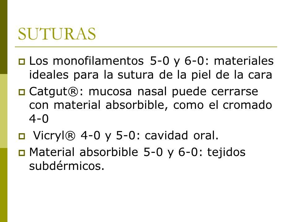 SUTURAS Los monofilamentos 5-0 y 6-0: materiales ideales para la sutura de la piel de la cara Catgut®: mucosa nasal puede cerrarse con material absorb