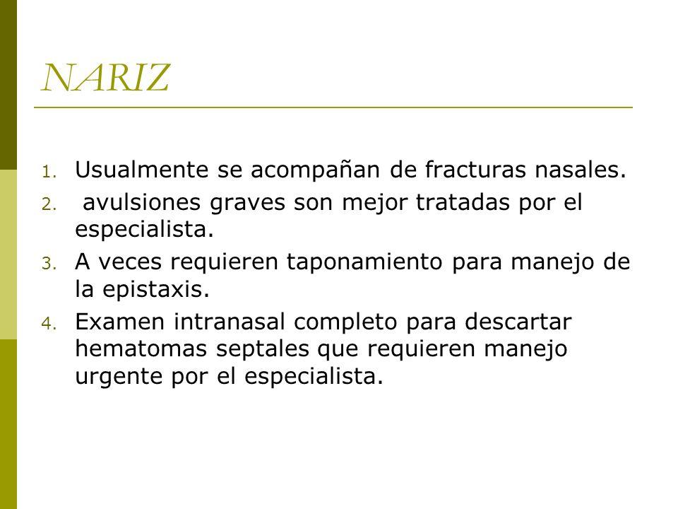 NARIZ 1. Usualmente se acompañan de fracturas nasales. 2. avulsiones graves son mejor tratadas por el especialista. 3. A veces requieren taponamiento