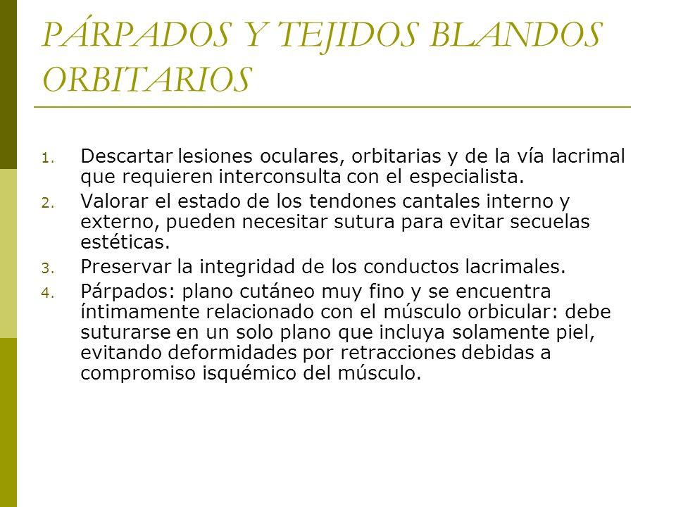 PÁRPADOS Y TEJIDOS BLANDOS ORBITARIOS 1. Descartar lesiones oculares, orbitarias y de la vía lacrimal que requieren interconsulta con el especialista.