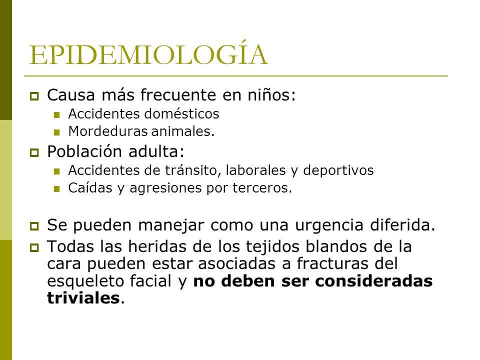 EPIDEMIOLOGÍA Causa más frecuente en niños: Accidentes domésticos Mordeduras animales. Población adulta: Accidentes de tránsito, laborales y deportivo