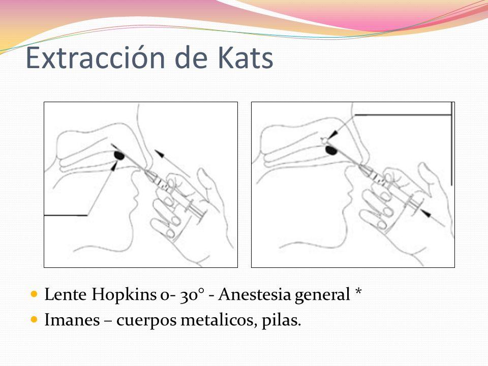 Extracción de Kats Lente Hopkins 0- 30° - Anestesia general * Imanes – cuerpos metalicos, pilas.
