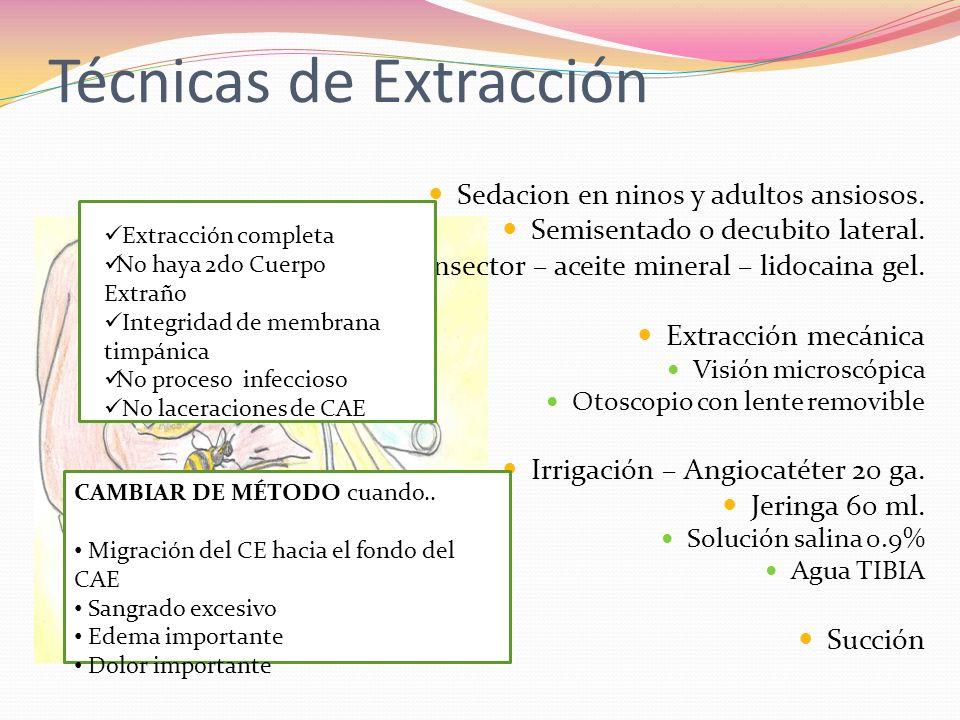 Técnicas de Extracción Sedacion en ninos y adultos ansiosos. Semisentado o decubito lateral. Insector – aceite mineral – lidocaina gel. Extracción mec